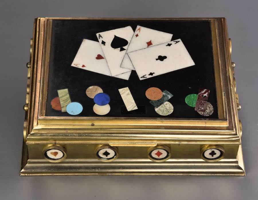 Highly decorative mid/late 19thc Pietre Dure and gilt brass games box