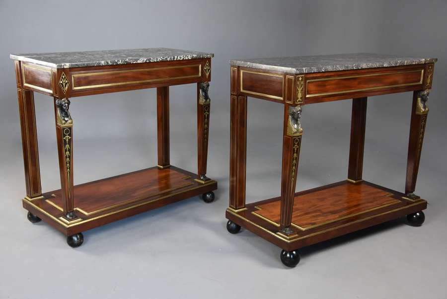 Superb quality near pair of French Empire mahogany console tables
