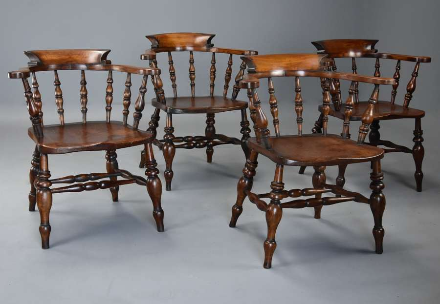 Set of four mid 19thc beech & elm smokers bow Windsor chairs