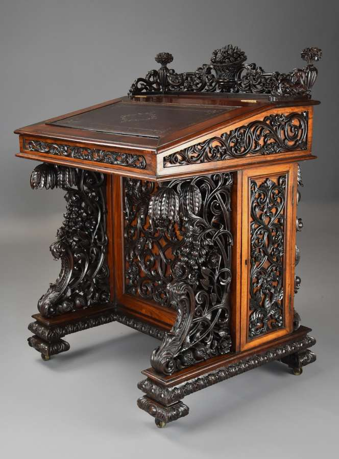 Exquisite 19thc Anglo Indian padouk & satinwood carved davenport