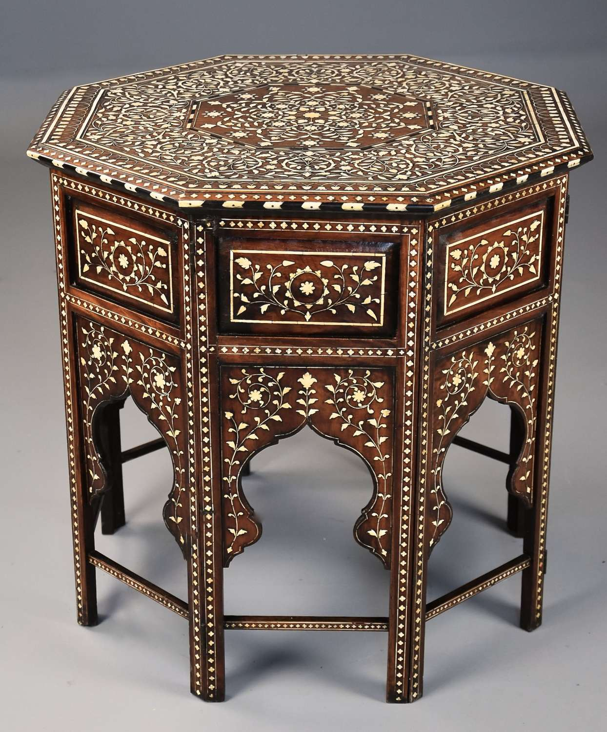 Superb quality 19thc ivory inlaid Anglo Indian octagonal table