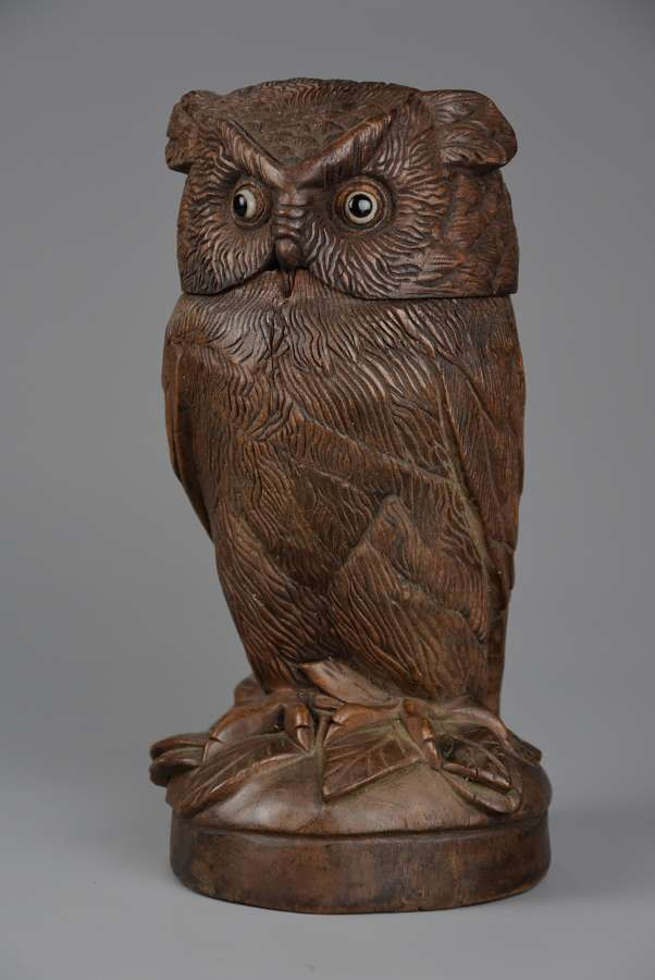 Finely carved 19thc Black Forest linden wood owl storage jar