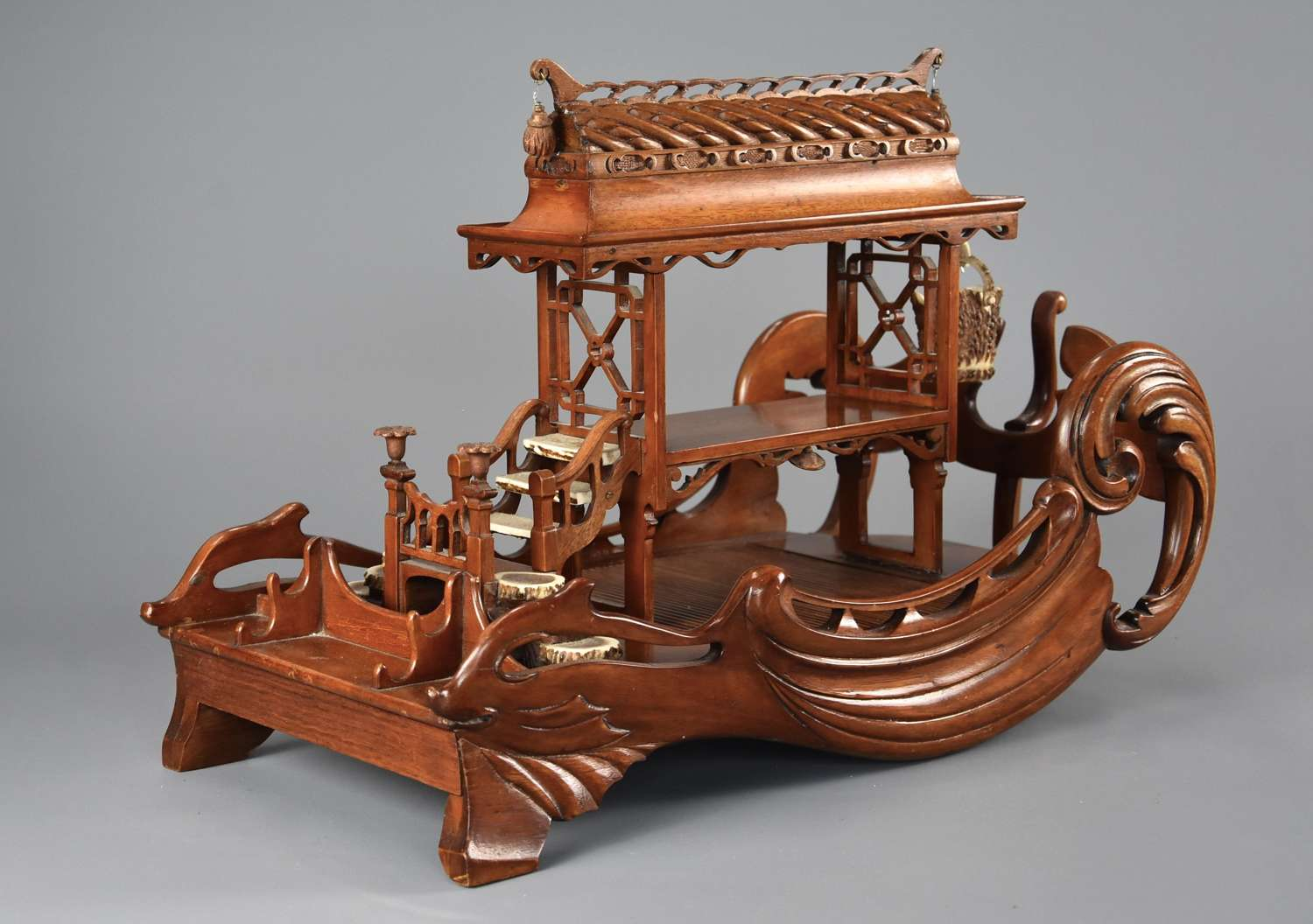 Late 19th century Asian model of a pagoda boat, possibly a desk stand