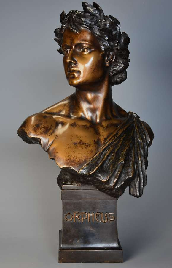 Superb bronzed terracotta bust of 'Orpheus' after HL Blasche