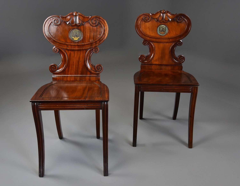Pair of early 19th century Regency mahogany hall chairs of fine patina