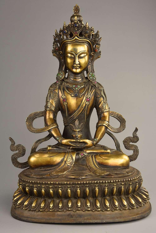 Early 20thc Tibetan figure of Buddha Bhaisajyaguru, Buddha of Medicine