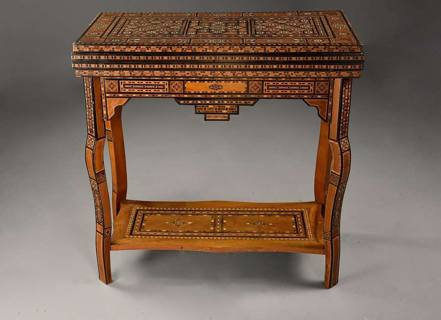 Highly decorative early 20thc Middle Eastern Damascus games table