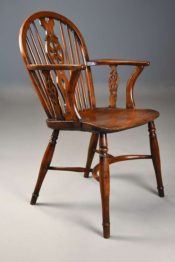 Extremely rare & unusual 19thc yew wood wheelback Windsor armchair