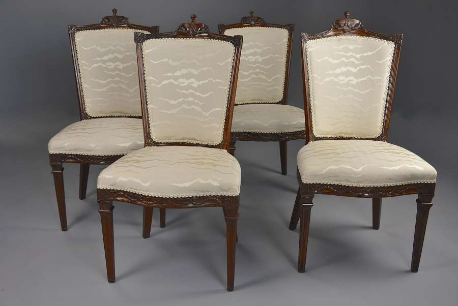 Set of four late 18thc Continental walnut chairs, possibly Italian