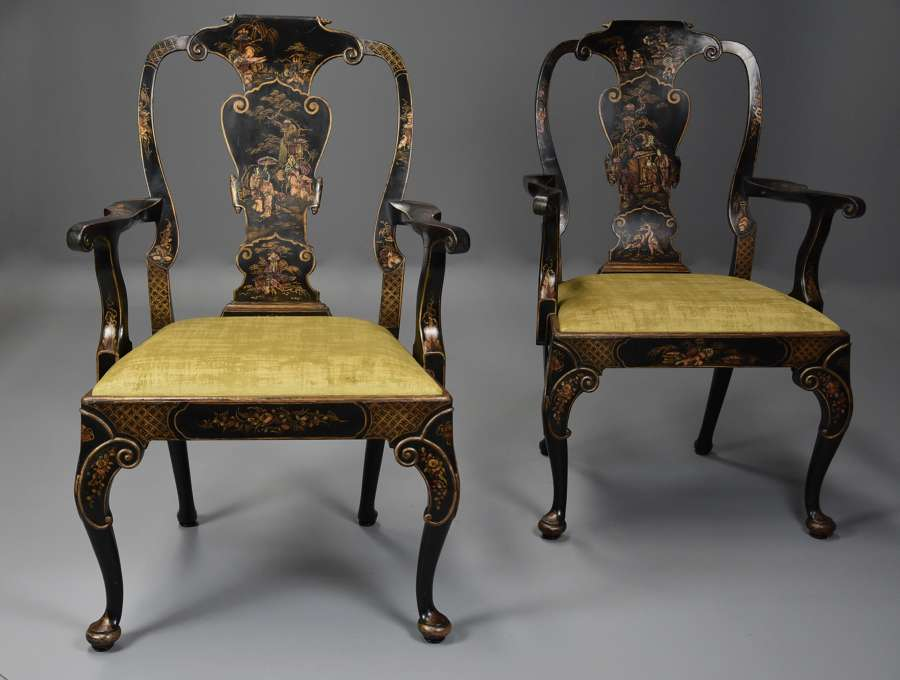 Superb pair of late 19thc George II style Japanned armchairs