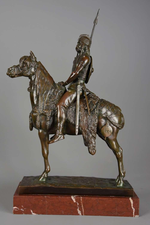 Superb 19thc French bronze of a 'Gallic Horseman' signed E Fremiet