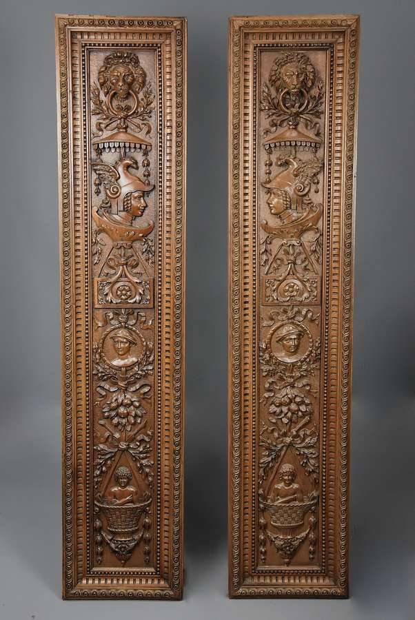 Superb pair of large French late 19th century carved walnut panels
