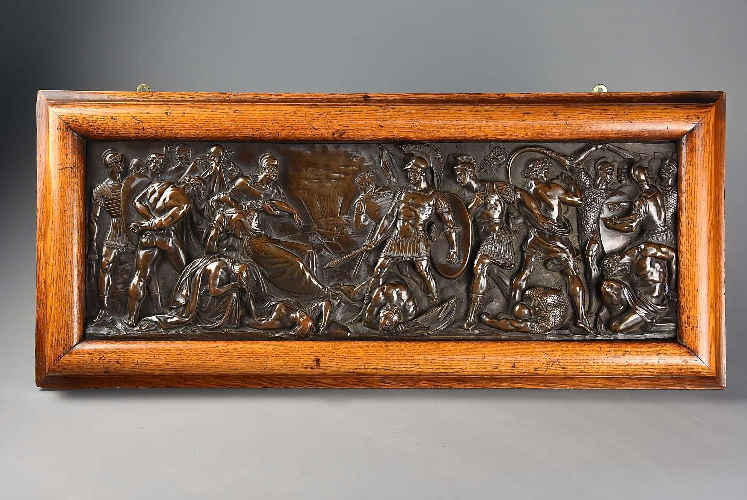 19thc fine quality framed bronzed plaque of a Classical battle scene