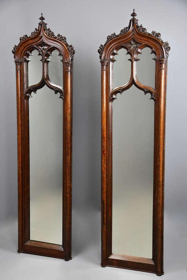 Fine pair of mid 19th century oak Gothic mirrors