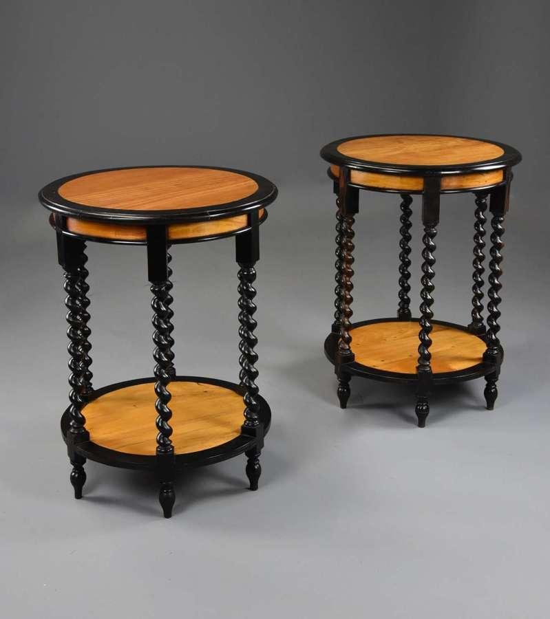 Highly decorative pair of 19thc Ceylonese satinwood & ebony tables