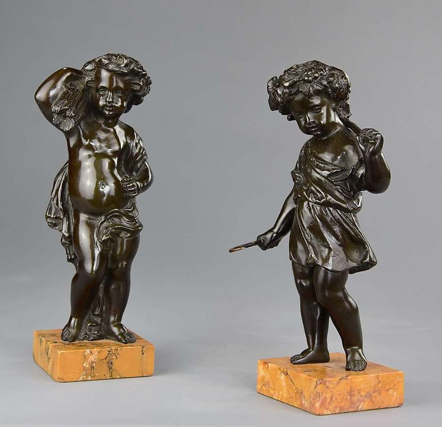 Pair of 19thc bronze Harvest putti in the manner of Clodion