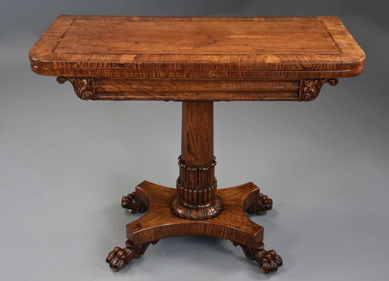 Fine quality William IVth pollard oak card or games table