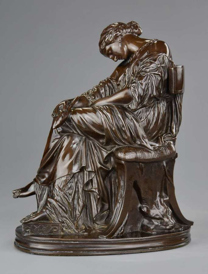 Fine quality French bronze sculpture of 'Penelope' by Cavelier