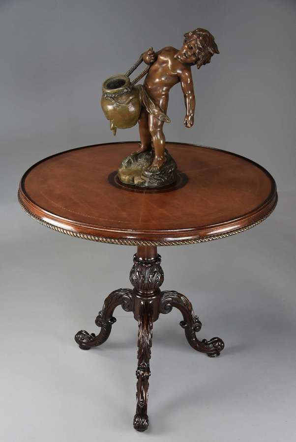 18thc Rococo style mahogany leather top tripod table