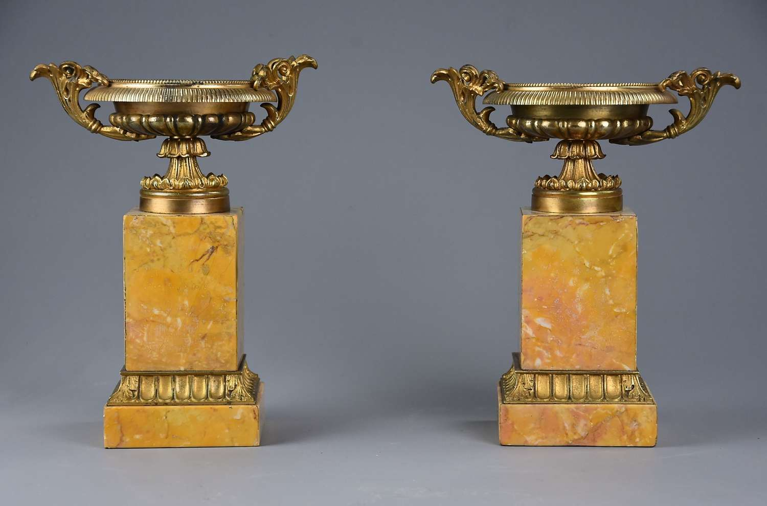 A pair of gilt metal tazzas on marble bases in the Neoclassical style