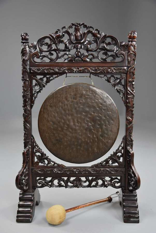 Fine quality late 19thc Chinese rosewood dinner gong with striker