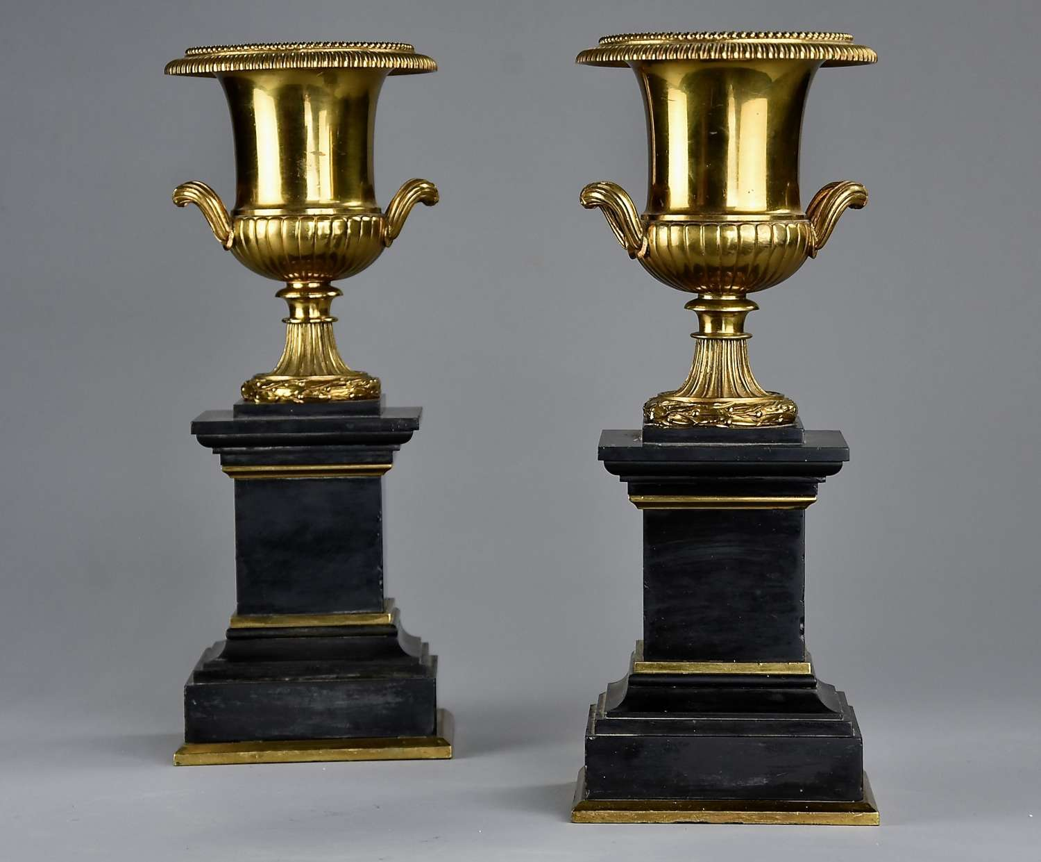 Highly decorative pair of French late 19thc brass campana urns