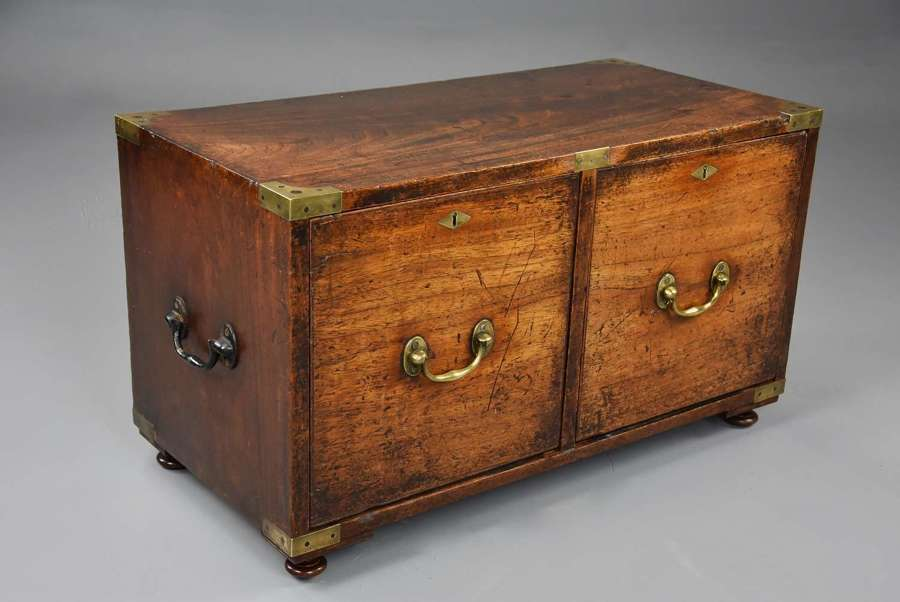 Mid 19thc camphor wood Campaign two drawer chest of superb patina