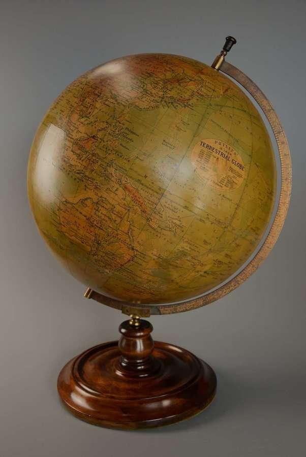 Early 20thc Philips 19'' terrestrial table globe on walnut base