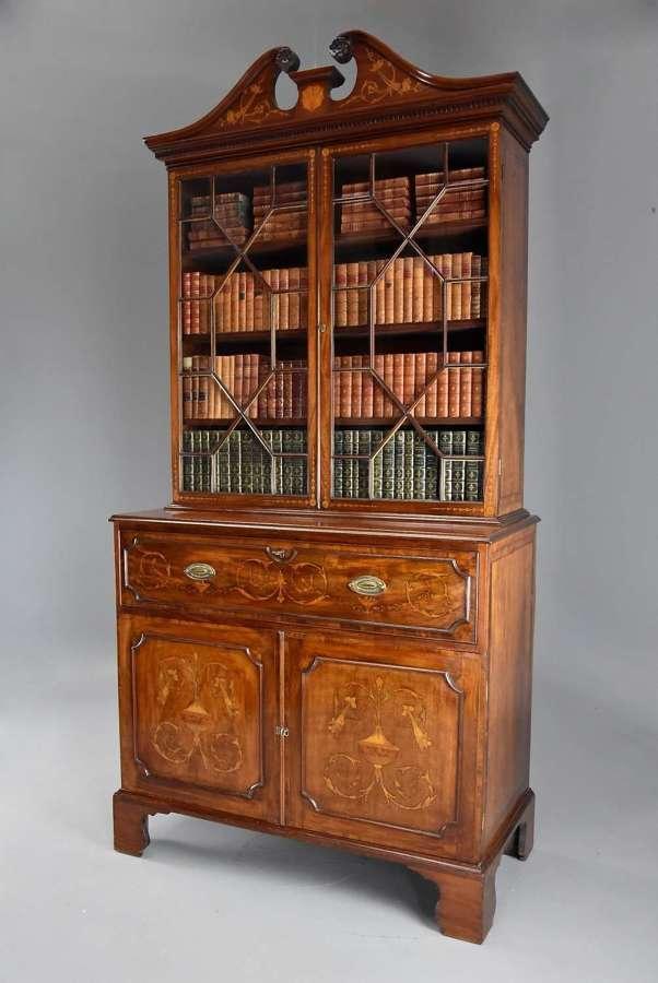 Fine quality Sheraton period mahogany secretaire bookcase