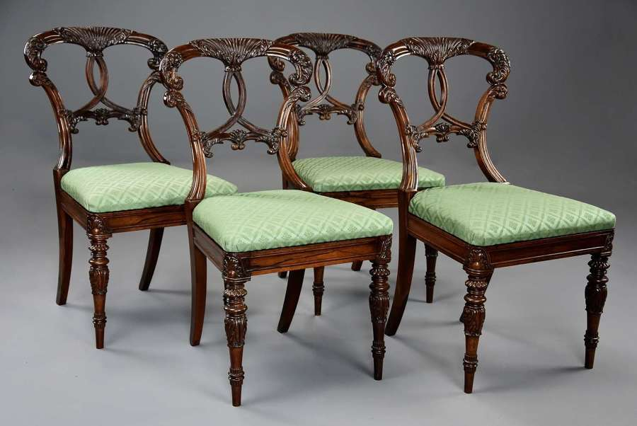 Superb quality set of four rosewood chairs of Indian influence