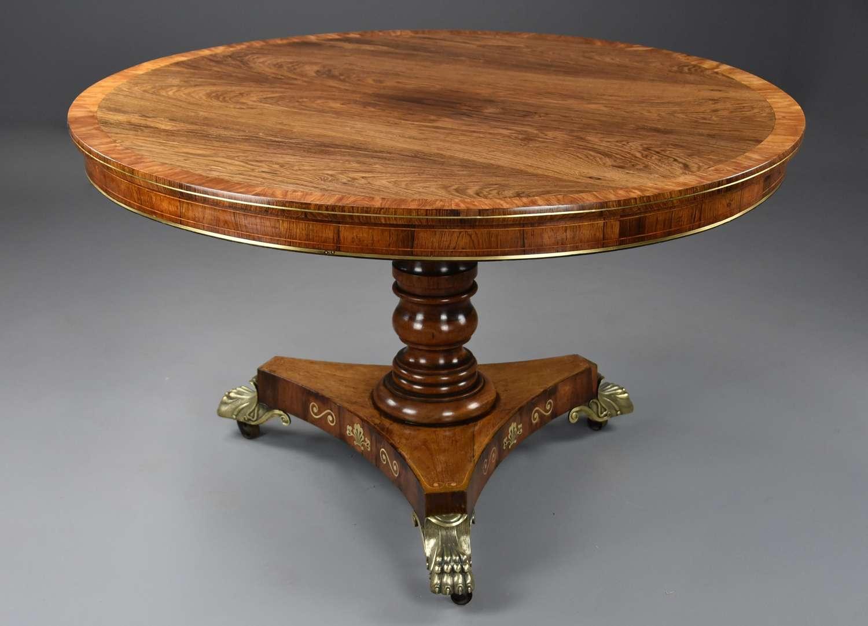 Fine quality Regency rosewood tilt top centre table of fine patina