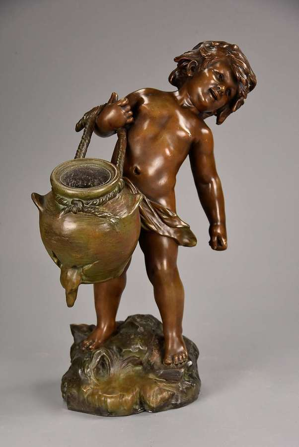 19thc French spelter figure of young male water carrier