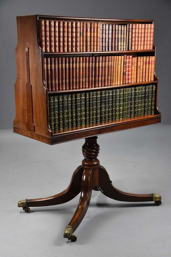 Extremely rare late 18th century mahogany pedestal waterfall bookcase