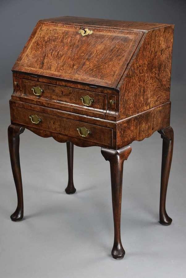 Extremely rare George I pollard oak bureau on stand of superb patina