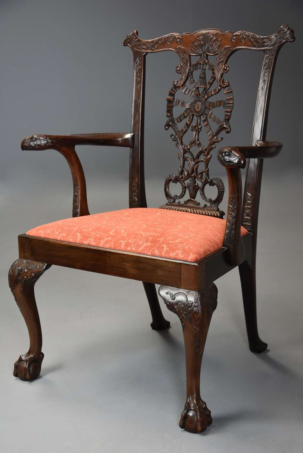 Superb quality early 20thc Chippendale style mahogany open armchair