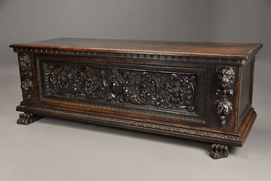 Late 16thc Italian carved walnut cassone of fine patina