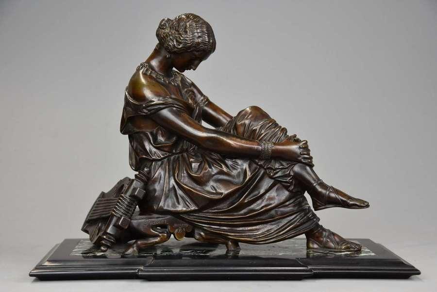 Fine quality late 19thc bronze figure of Sappho, signed 'Pradier'