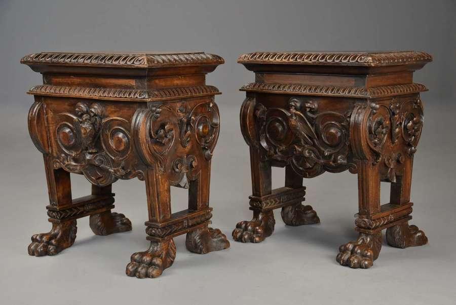 Fine pair of 18thc Italian walnut stools in the 16thc style