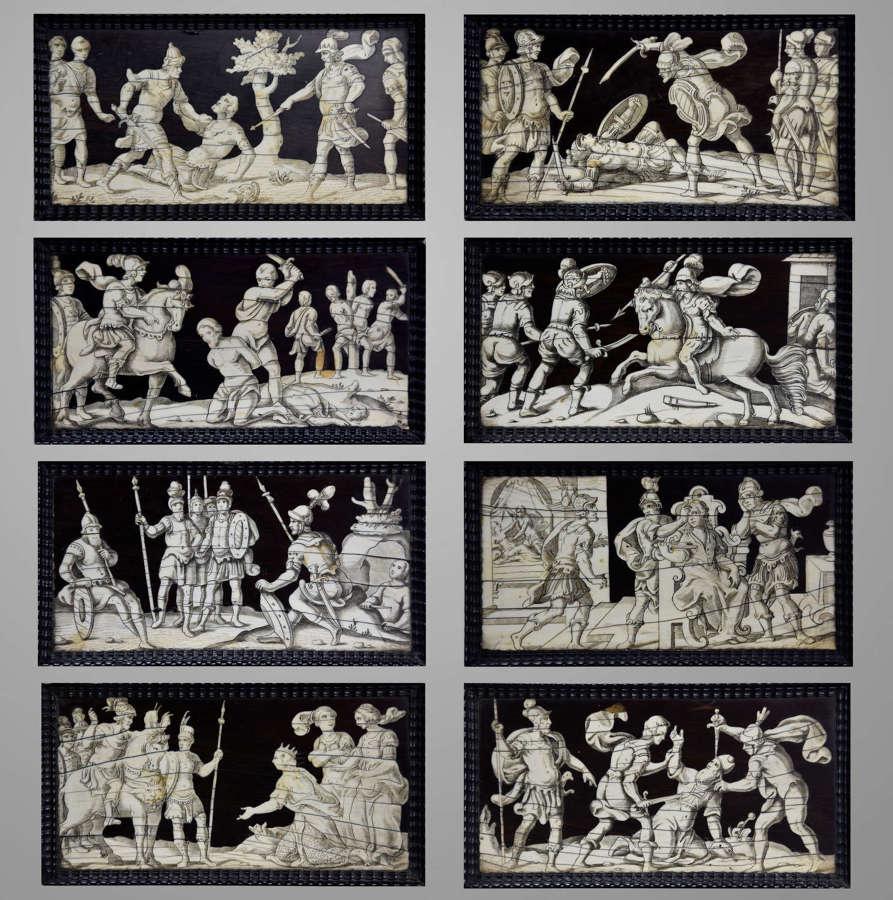 Set of eight Italian 17thc ebony and ivory engraved panels