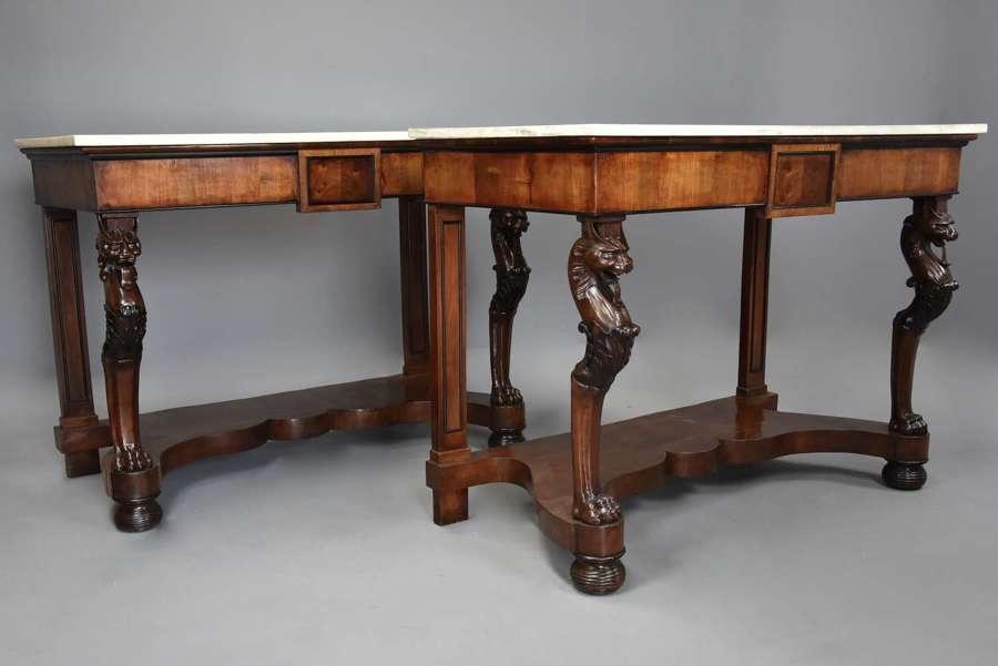Rare pair of early 19th century Italian walnut console tables