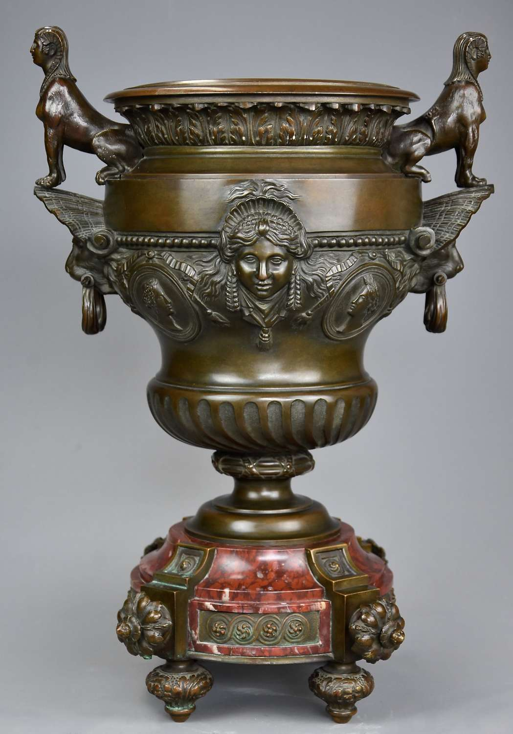 Fine quality large 19th century French bronze urn on marble base
