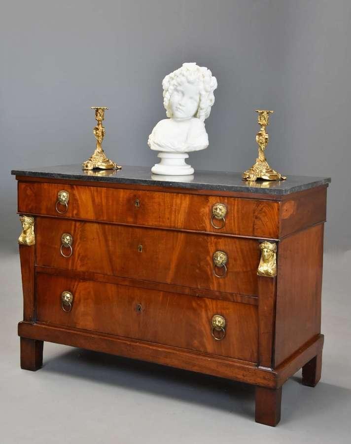 Early 19th century French Empire mahogany commode