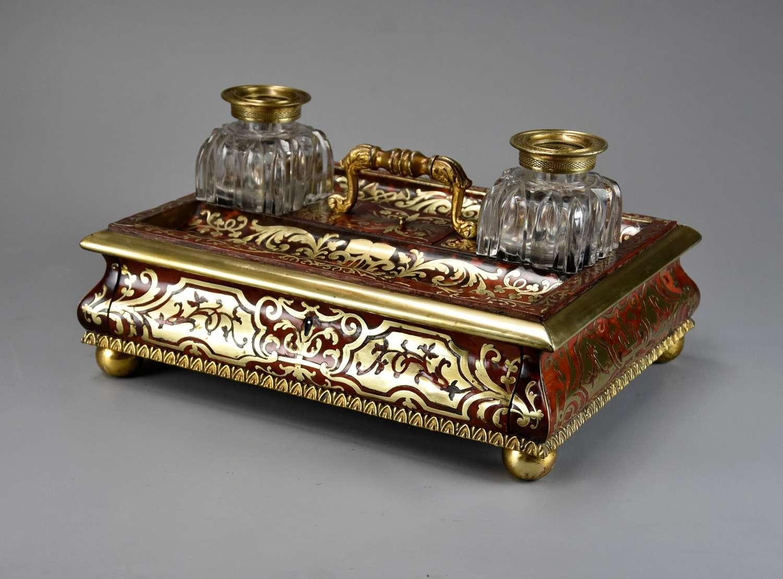 Mid 19thc tortoiseshell & inlaid brass desk stand