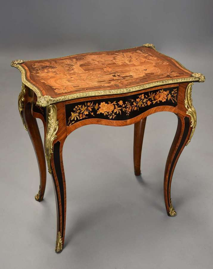 19thc fine quality Kingwood inlaid centre table in the French style