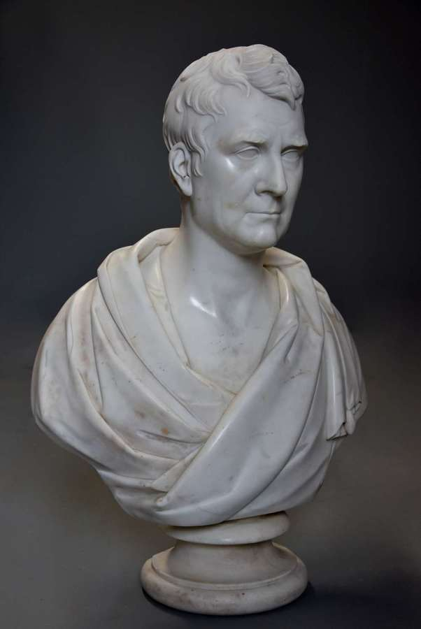 Large fine quality marble bust of James Loch MP signed 'J Francis'
