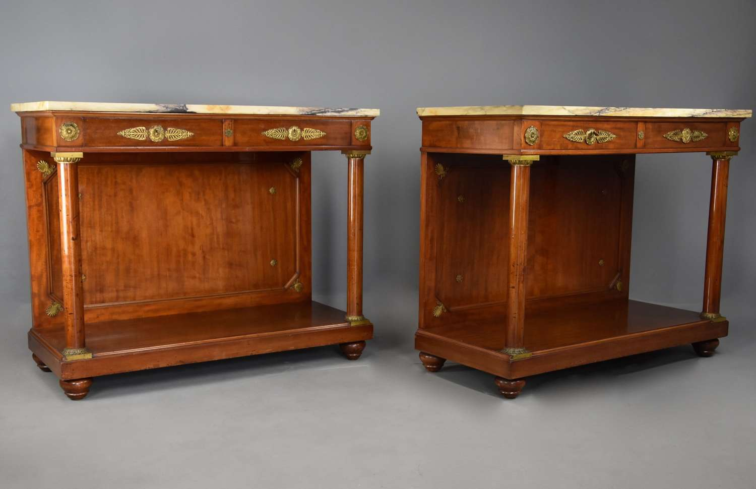 Pair of 19thc French Empire style console tables, stamped 'Krieger'